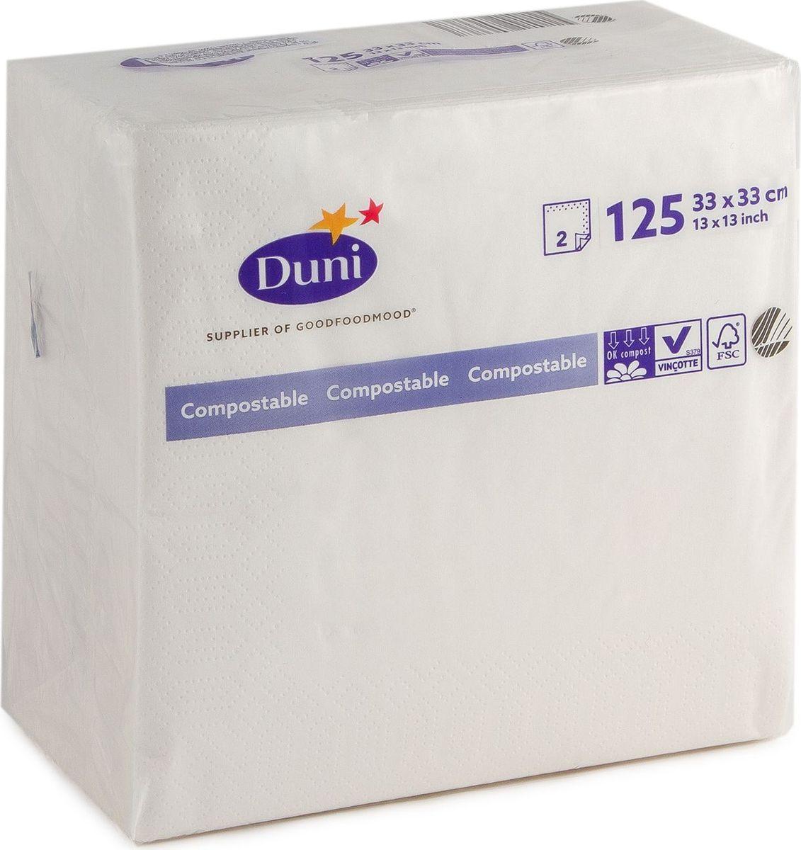 Салфетки бумажные Duni, 2-слойные, 33 х 33 см, 125 шт180376Многослойные бумажные салфетки изготовлены из экологически чистого, высококачественного сырья - 100% целлюлозы. Салфетки выполнены в оригинальном и современном стиле, прекрасно сочетаются с любым интерьером и всегда будут прекрасным и незаменимым украшением стола.