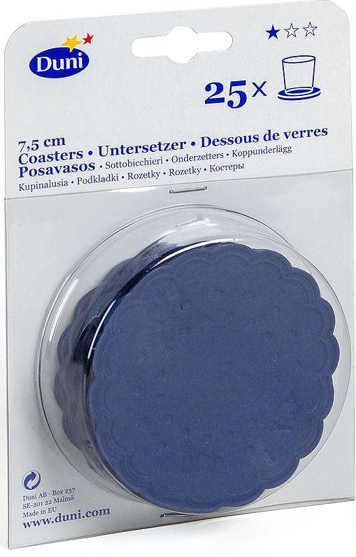 Салфетки бумажные Duni, 9-слойные, цвет: синий, диаметр 7,5 см351881Многослойные бумажные салфетки изготовлены из экологически чистого, высококачественного сырья - 100% целлюлозы. Салфетки выполнены в оригинальном и современном стиле, прекрасно сочетаются с любым интерьером и всегда будут прекрасным и незаменимым украшением стола.