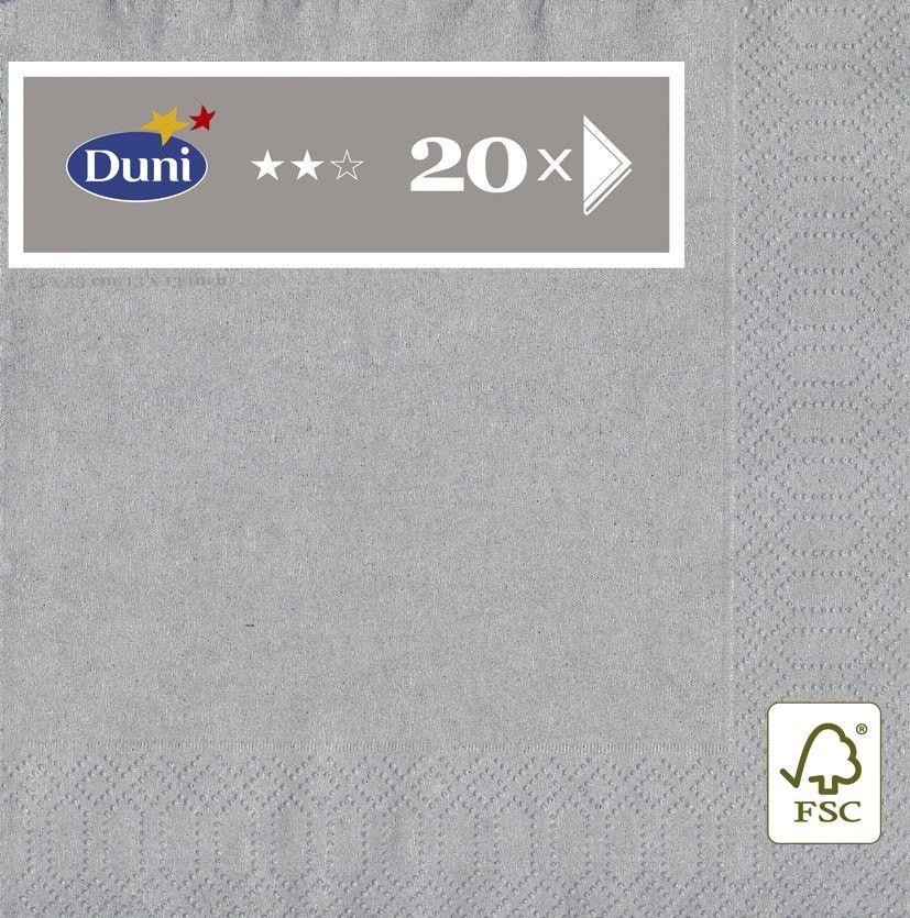 Салфетки бумажные Duni, 3-слойные, цвет: серый металлик, 33 х 33 см105805_серый металликМногослойные бумажные салфетки изготовлены из экологически чистого, высококачественного сырья - 100% целлюлозы. Салфетки выполнены в оригинальном и современном стиле, прекрасно сочетаются с любым интерьером и всегда будут прекрасным и незаменимым украшением стола.