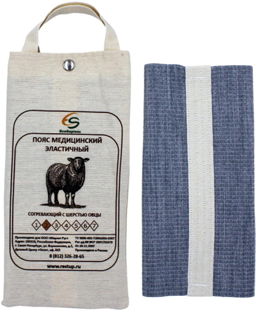 EcoSapiens Пояс медицинский эластичный согревающий, с шерстью овцы №2, размер S (44/46)ES-SH2Создает оптимальный тепловой баланс, что усиливает кровообращение и ускоряет восстановление тканей.