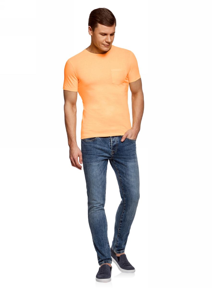 Футболка мужская oodji Lab, цвет: оранжевый. 5L611376M/39485N/5500Y. Размер M (50)5L611376M/39485N/5500YМужская футболка от oodji выполнена из натурального хлопкового трикотажа. Модель с короткими рукавами и круглым вырезом горловины дополнена нагрудным карманом.