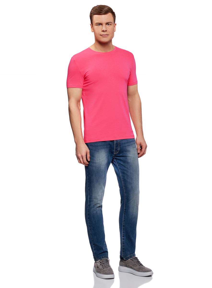 Футболка мужская oodji Basic, цвет: ярко-розовый. 5B611004M/46737N/4D00N. Размер L (52/54)5B611004M/46737N/4D00NМужская базовая футболка от oodji выполнена из эластичного хлопкового трикотажа. Модель с короткими рукавами и круглым вырезом горловины.