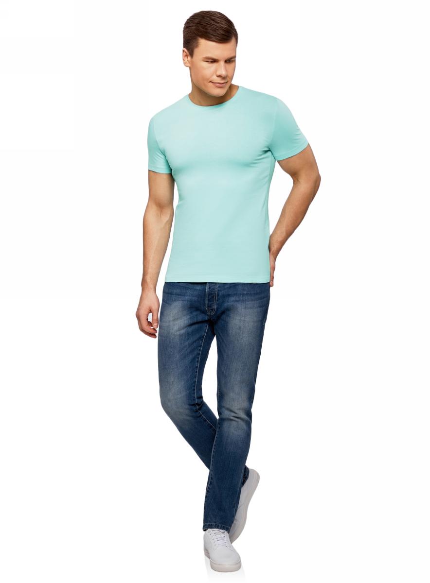 Футболка мужская oodji Basic, цвет: бирюзово-голубой. 5B611004M/46737N/7301N. Размер XXL (58/60) ботинки adidas ботинки ch winterhiker ii cp w
