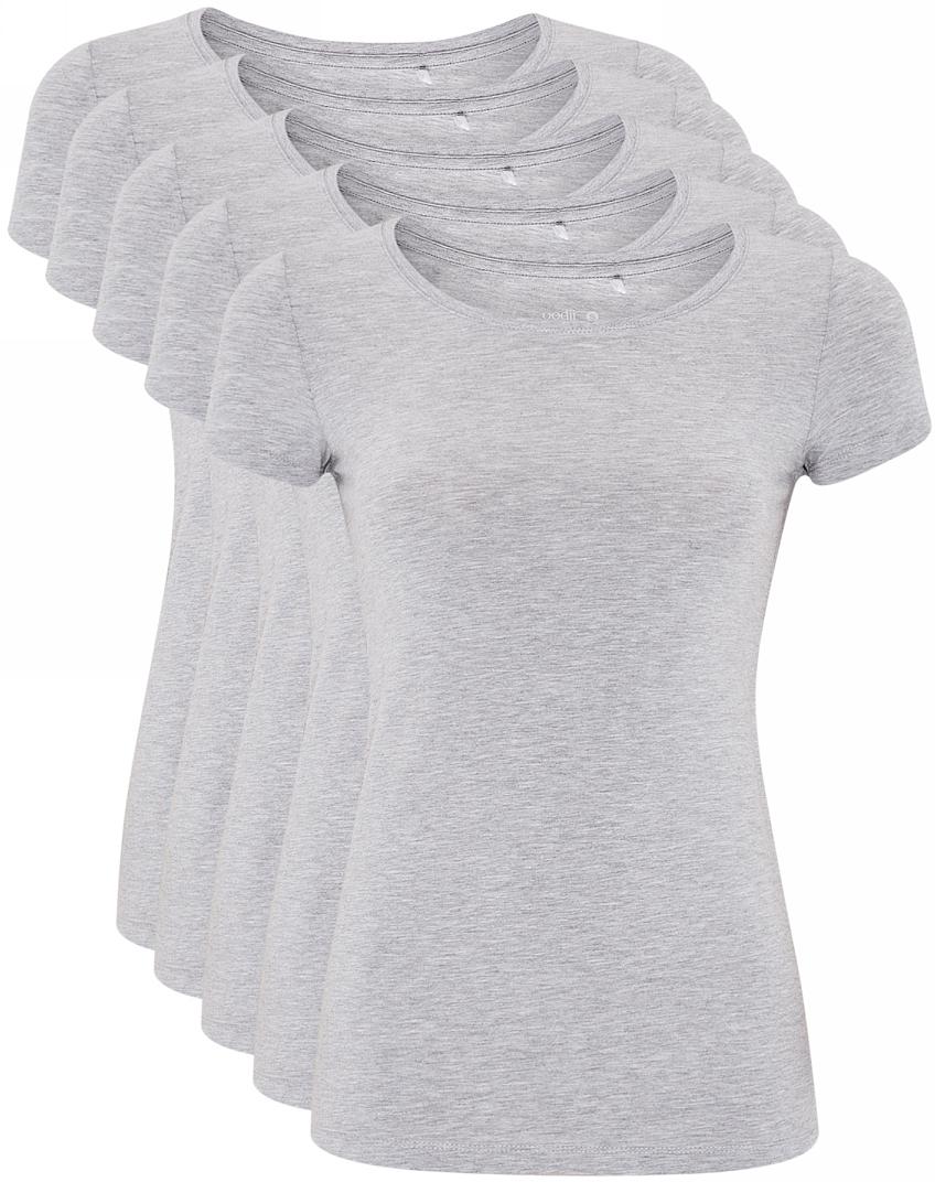 Футболка женская oodji Ultra, цвет: светло-серый меланж, 5 шт. 14701005T5/46147/2000M. Размер M (46)14701005T5/46147/2000MЖенская футболка выполнена из эластичной хлопковой ткани. Модель с круглым вырезом горловины и стандартными короткими рукавами. В комплект входит пять футболок одинакового цвета.
