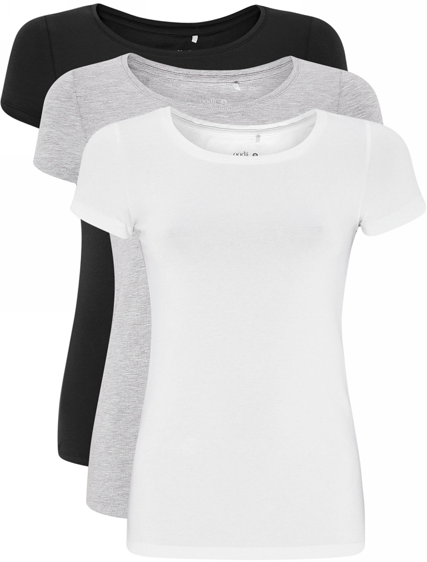 Футболка женская oodji Ultra, цвет: белый, черный, серый, 3 шт. 14701005T3/46147/1901N. Размер S (44) пульт alto zmx52