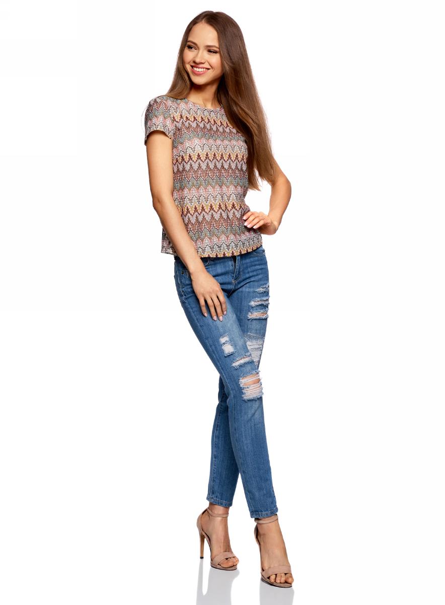 Футболка женская oodji Ultra, цвет: коричневый, зеленый. 14701067/45509/3762E. Размер XS (42) пуловеры oodji пуловер