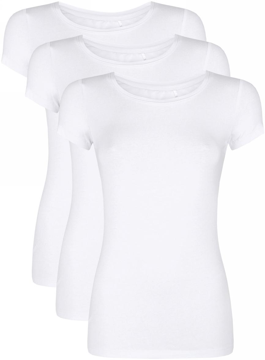 Футболка женская oodji Ultra, цвет: белый, 3 шт. 14701005T3/46147/1000N. Размер L (48)14701005T3/46147/1000NЖенская футболка oodji Ultra выполнена из эластичного хлопка. Модель с круглым вырезом горловины и короткими рукавами. В комплект входят три футболки.