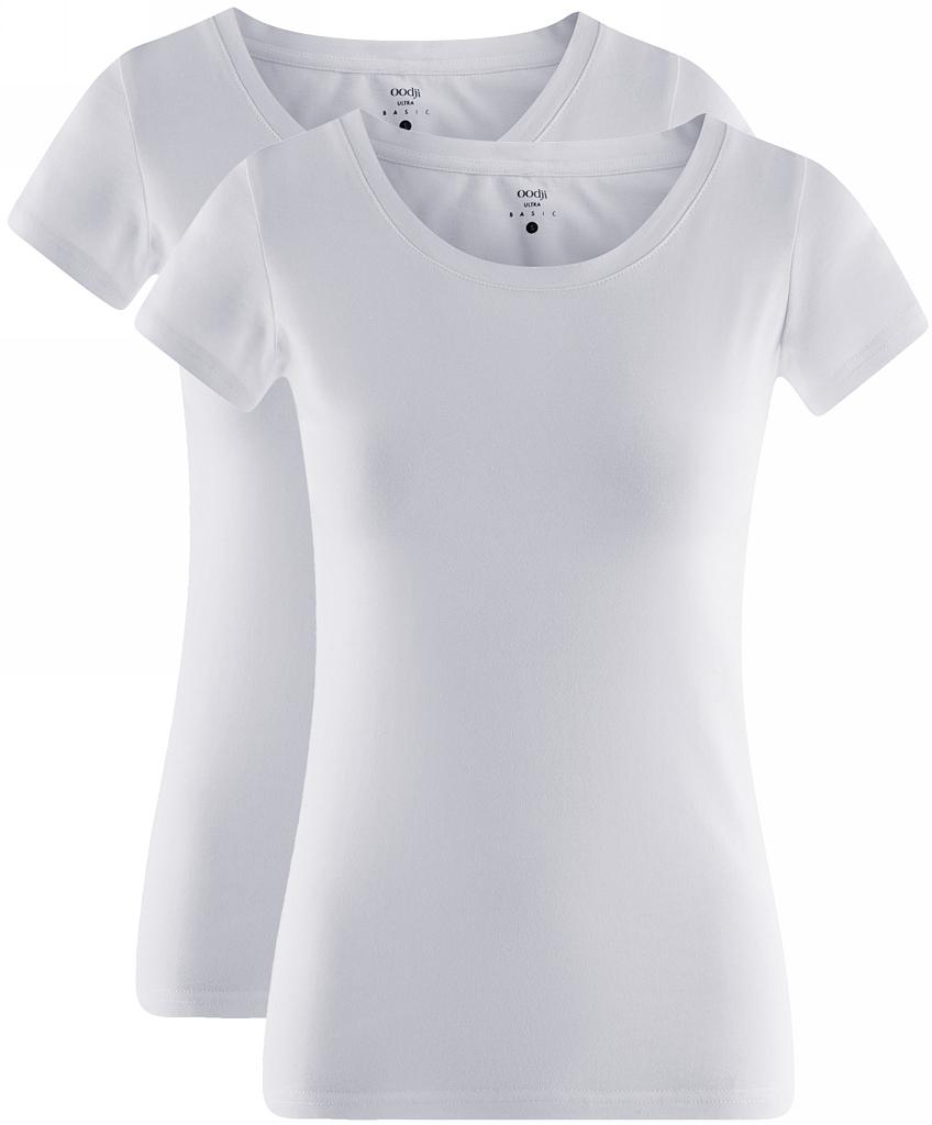 Футболка женская oodji Ultra, цвет: белый, 2 шт. 14701008T2/46154/1000N. Размер M (46)14701008T2/46154/1000NЖенская приталенная футболка выполнена из хлопка. Модель с круглым вырезом горловины и стандартными короткими рукавами. В комплект входят 2 футболки.