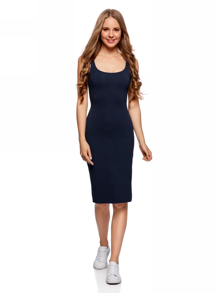 Платье oodji Ultra, цвет: темно-синий, 2 шт. 14015007T2/47420/7900N. Размер XS (42)14015007T2/47420/7900NПлатье-майка oodji изготовлено из качественного смесового материала. Модель-миди выполнена без рукавов и с глубоким круглым вырезом. В комплекте 2 платья.