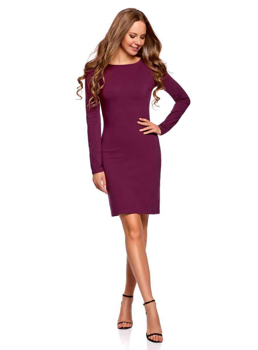 Платье oodji Ultra, цвет: фиолетовый. 14001183B/46148/8301N. Размер L (48)14001183B/46148/8301NПлатье oodji Ultra выполнено из качественного трикотажа. Модель с круглым вырезом горловины и длинными рукавами выгодно подчеркивает достоинства фигуры.