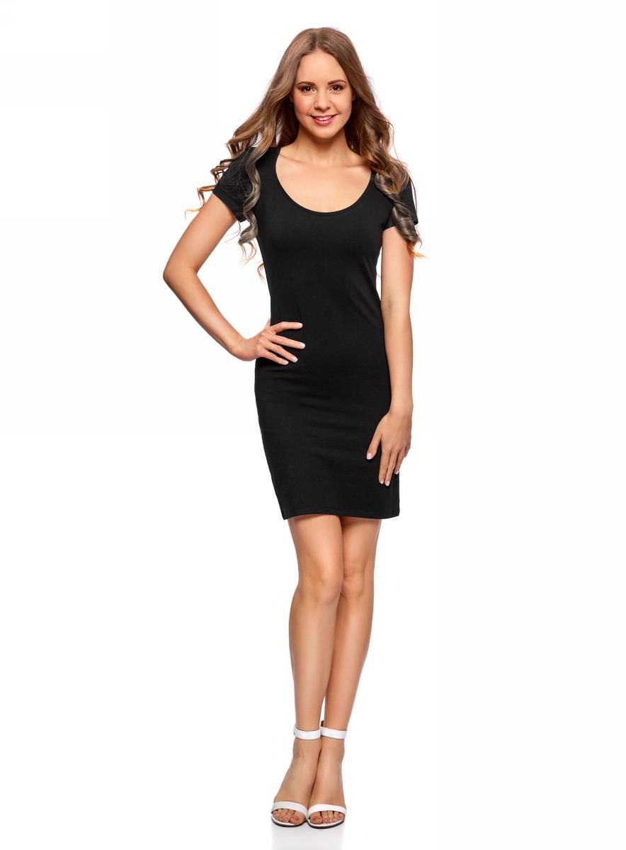 Платье oodji Ultra, цвет: черный, 2 шт. 14001182T2/47420/2900N. Размер S (44)14001182T2/47420/2900NТрикотажное платье oodji изготовлено из качественного эластичного хлопка. Облегающая модель выполнена с круглым вырезом горловины и короткими рукавами. В комплекте 2 платья.