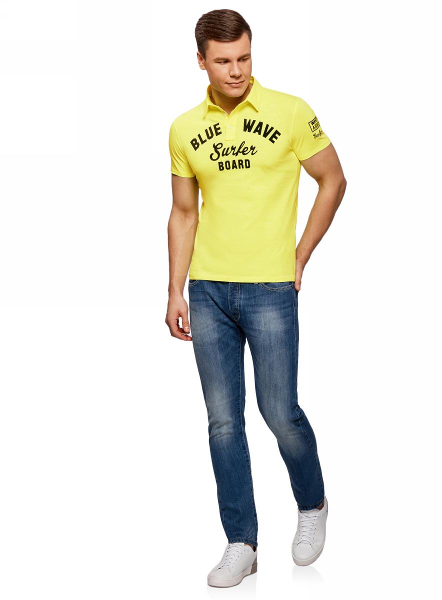 Поло мужское oodji Lab, цвет: желтый. 5L412261M/34149N/5279P. Размер XL (56)5L412261M/34149N/5279PФутболка-поло от oodji выполнена из натурального хлопка. Модель с короткими рукавами и отложным воротником застегивается на пуговицы, оформлена принтованной надписью и нашивкой на рукаве.