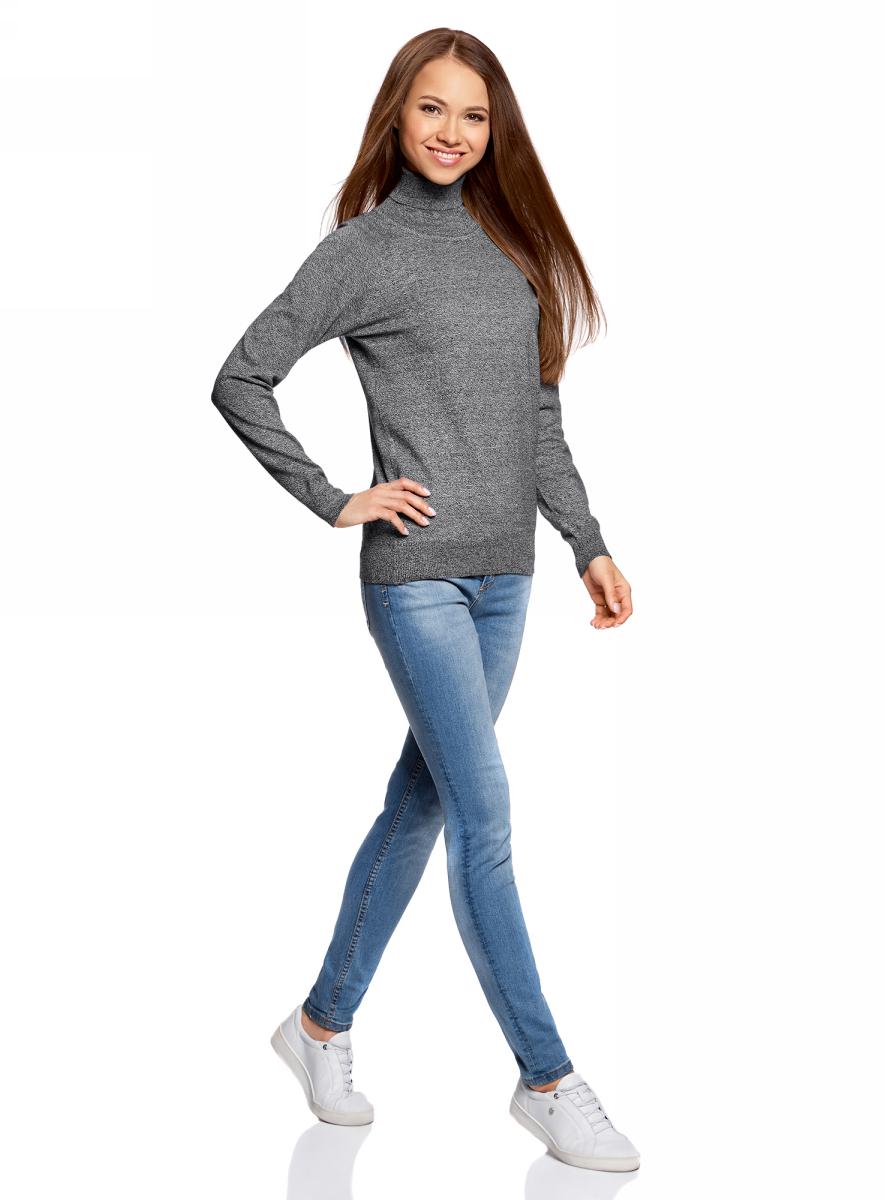 Свитер женский oodji Ultra, цвет: черный, белый меланж. 64412193B/46801/2910M. Размер XXS (40) жакет женский oodji ultra цвет синий меланж 63212568b 45642 7500m размер xxs 40