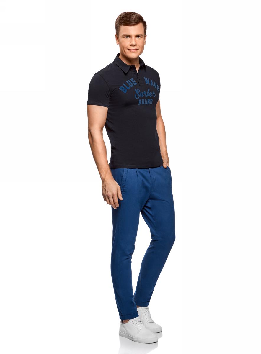 Поло мужское oodji Lab, цвет: темно-синий. 5L412261M/34149N/7912P. Размер XXL (58/60)
