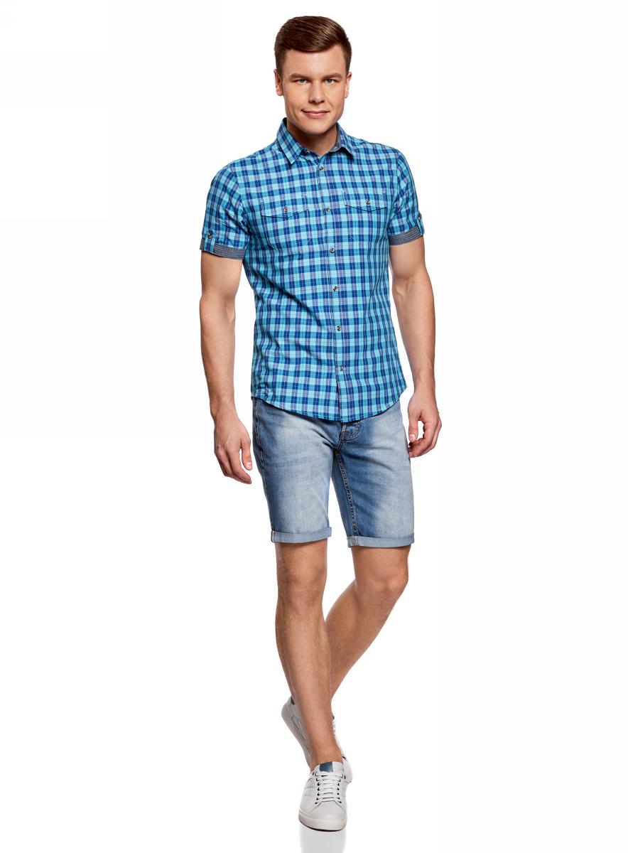 Рубашка мужская oodji Lab, цвет: синий, бирюзовый. 3L410080M/34319N/7573C. Размер S-182 (46/48-182)3L410080M/34319N/7573CМужская рубашка oodji выполнена из натурального хлопка. Модель с короткими рукавами, отложным воротником и нагрудными карманами застегивается на пуговицы. Рукава с отворотами. Натуральный хлопок приятен на ощупь, не раздражает кожу, дышит.