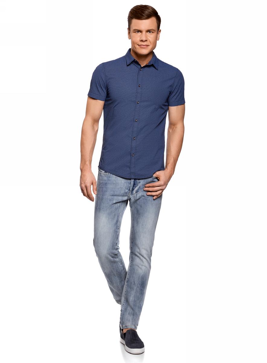 Рубашка мужская oodji Lab, цвет: темно-синий, синий. 3L410102M/39312N/7975G. Размер M-182 (50-182)3L410102M/39312N/7975GМужская рубашка от oodji выполнена из натурального хлопка. Модель приталенного кроя с короткими рукавами застегивается на пуговицы.