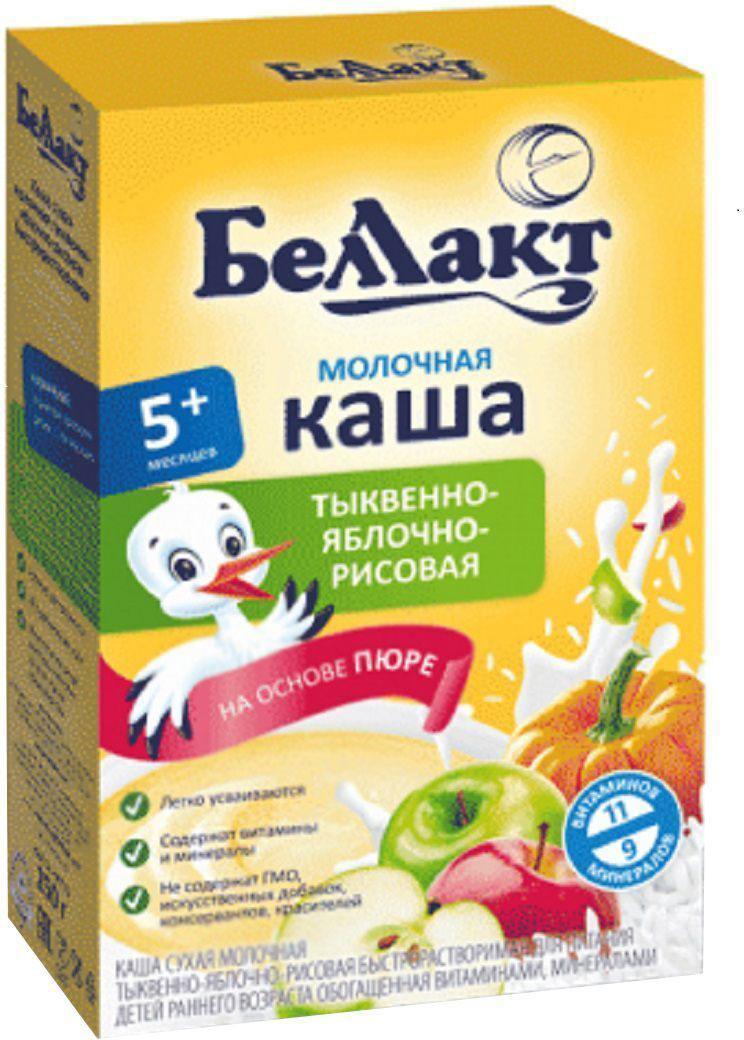 Беллакт каша молочная рисовая с тыквой и яблоком, 250 г2714Тыква богата солями калия, содержит такие микроэлементы, как медь и фтор. Из витаминов она больше всех бахчевых культур содержит каротина, витаминов РР и группы В. Яблоко богато железом, витамином С, натуральными углеводами и органическими кислотами. Это усиливает выделение пищеварительных соков и повышению аппетита. Рисовая крупа источник углеводов, калия, кальция и витаминов, необходимых для всех видов обмена веществ.Витамины, макро- и микроэлементы, необходимые для гармоничного роста и развития ребенка:железо участвует в процессе кроветворениякальций является структурным элементом костного скелета и тканей зубов, необходим для нормальной деятельности нервно - мышечного аппарата и центральной нервной системыйод влияет на умственное развитие, нормализует обмен веществ, регулирует нервно - мышечную функцию витамины А, С, Е регулируют обмен веществ, обеспечивают нормальную деятельность нервной, сердечно - сосудистой и пищеварительной системПищевая ценность в 100 г продукта:Углеводы, г - 24.0Белок, г - 4.4Жир, г - 3.5