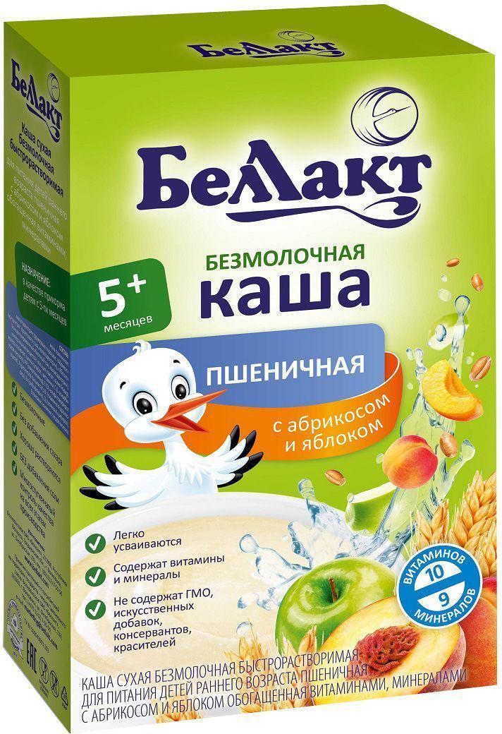 Беллакт каша безмолочная пшеничная с абрикосом и яблоком, 200 г2879Рекомендуется в качестве прикорма детям с 5 месяцев. Пшеница достаточно богата растительным белком (10,3%) и содержит много крахмала. Абрикос - содержит много сахара (4,7 - 20%), органических кислот (0,3 - 2,6%), калия, витамины В1, В2, С, каротин. Абрикосы богаты пектиновыми веществами (0,5 - 1,6%), которые подавляют в кишечнике активность вредной микрофлоры, связывают и выводят из организма токсичные вещества и металлы. Яблоко богато железом, витамином С, натуральными углеводами и органическими кислотами. Это усиливает выделение пищеварительных соков и способствует повышению аппетита.