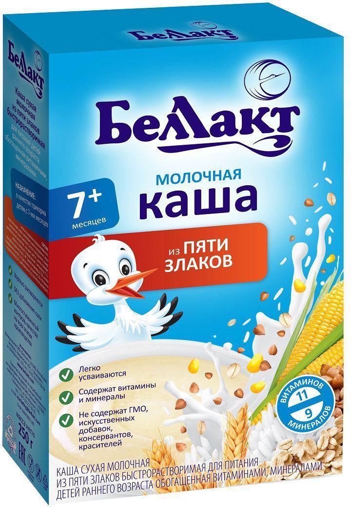 Беллакт каша молочная из пяти злаков, 250 г4810263027135Каша молочная из 5 злаков сухая быстрорастворимая с 6 месяцев. В составе каши объединены полезные свойства сразу нескольких злаков: риса, гречки, овсянки, кукурузы и пшеницы. Сбалансированный состав делает кашу питательной и вкусной. Каши Беллакт хорошо растворяются и легко усваиваются.Детская молочная каша:• Содержит 11 витаминов и 9 минералов• Без добавления соли• Не содержит ГМО, искусственных добавок, консервантов, красителей• Многоступенчатый контроль качества на всех этапах производстваРисовая крупа – содержит углеводы, калий, кальций и витамины необходимые для всех видов обмена веществ. Гречневая крупа – содержит много углеводов, витаминов В1, В2, В6, РР, минеральных веществ: железа, благодаря чему эффективно повышает уровень гемоглобина крови; магния, нормализующего обменные процессы в нервной системе ребенка; фосфора и кальция, необходимых для развития костной системы и нервной ткани.Овсяная крупа – содержит незаменимые аминокислоты метионина и магния, необходимые для нормальной деятельности центральной нервной системы ребенка, содержит в большом количестве натуральные антиоксиданты – вещества, повышающие сопротивляемость организма ребенка к различным инфекциям.Кукурузная крупа – содержит селен, который оказывает иммуностимулирующее действие и железо для профилактики анемии.Пшеница достаточно богата растительным белком (10,3 %), содержит много крахмала (67,4 %), но относительно бедна минеральными веществами (калий, фосфор, железо, кобальт, цинк, марганец) и витаминами (витамины группы В). Витамины, макро- и микроэлементы необходимые для гармоничного роста и развития ребенка: железо – участвует в процессе кроветворения;кальций – является структурным элементом костного скелета и тканей зубов, необходим для нормальной деятельности нервно-мышечного аппарата и центральной нервной системы;йод – влияет на умственное развитие, нормализует обмен веществ, регулирует нервно-мышечную функцию;цинк – микроэлемент, к