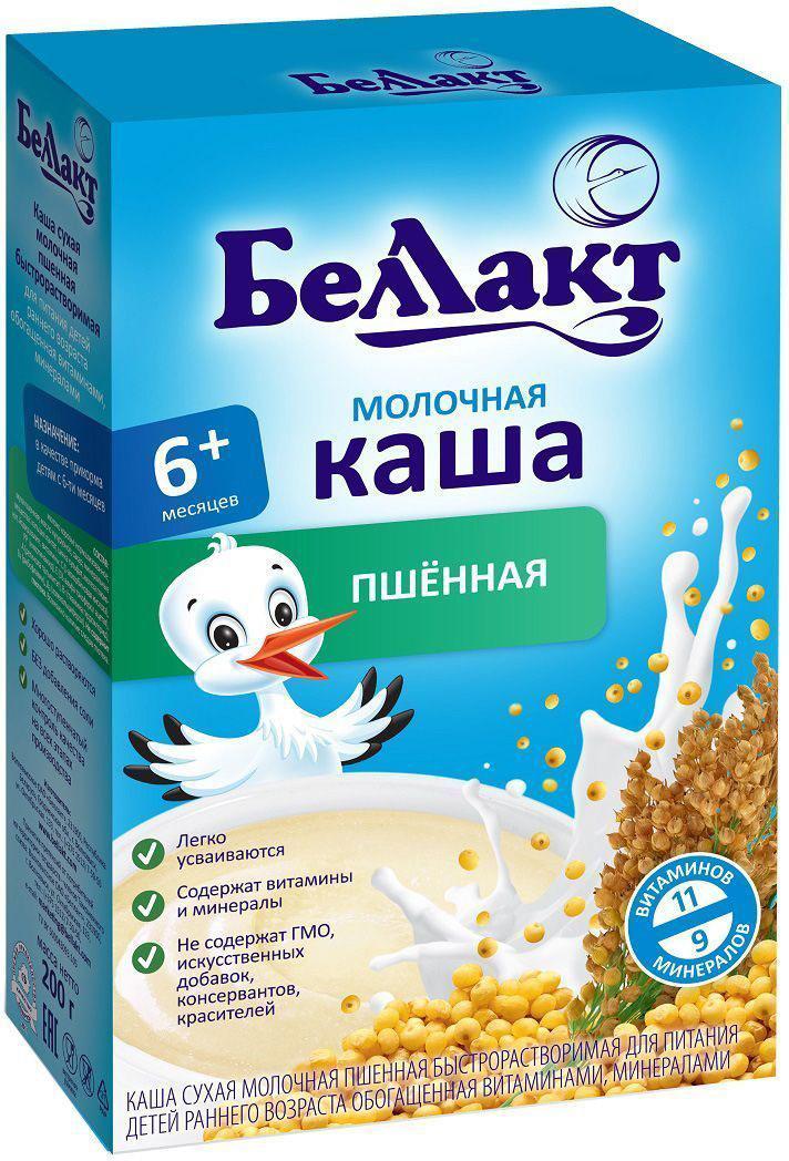 Беллакт каша молочная пшенная, 200 г4810263028996Каша молочная пшеничная сухая быстрорастворимая для питания детей с 6 месяцев. Каша состоит из одного злака и подходит для начала введения прикорма. Пшенная крупа - источник витаминов и микроэлементов, необходимых для роста и развития ребенка. Каши Беллакт хорошо растворяются и легко усваиваются.