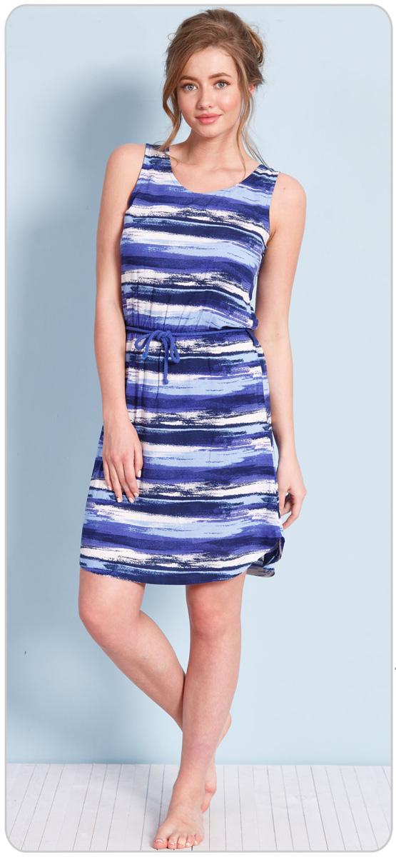 Платье домашнее Vienettas Secret Морской бриз, цвет: синий, белый. 612095 0522. Размер L (48)612095 0522Домашнее платье Vienettas Secret Морской бриз изготовлено из струящейся вискозы и оформлено полосатым принтом. Модель длины миди с круглым вырезом горловины, полукруглым низом и без рукавов, на талии дополнена поясом-шнурком. Платье не сковывает движения, обеспечивая наибольший комфорт. В таком наряде вы будете чувствовать себя уютно и комфортно дома и на отдыхе.