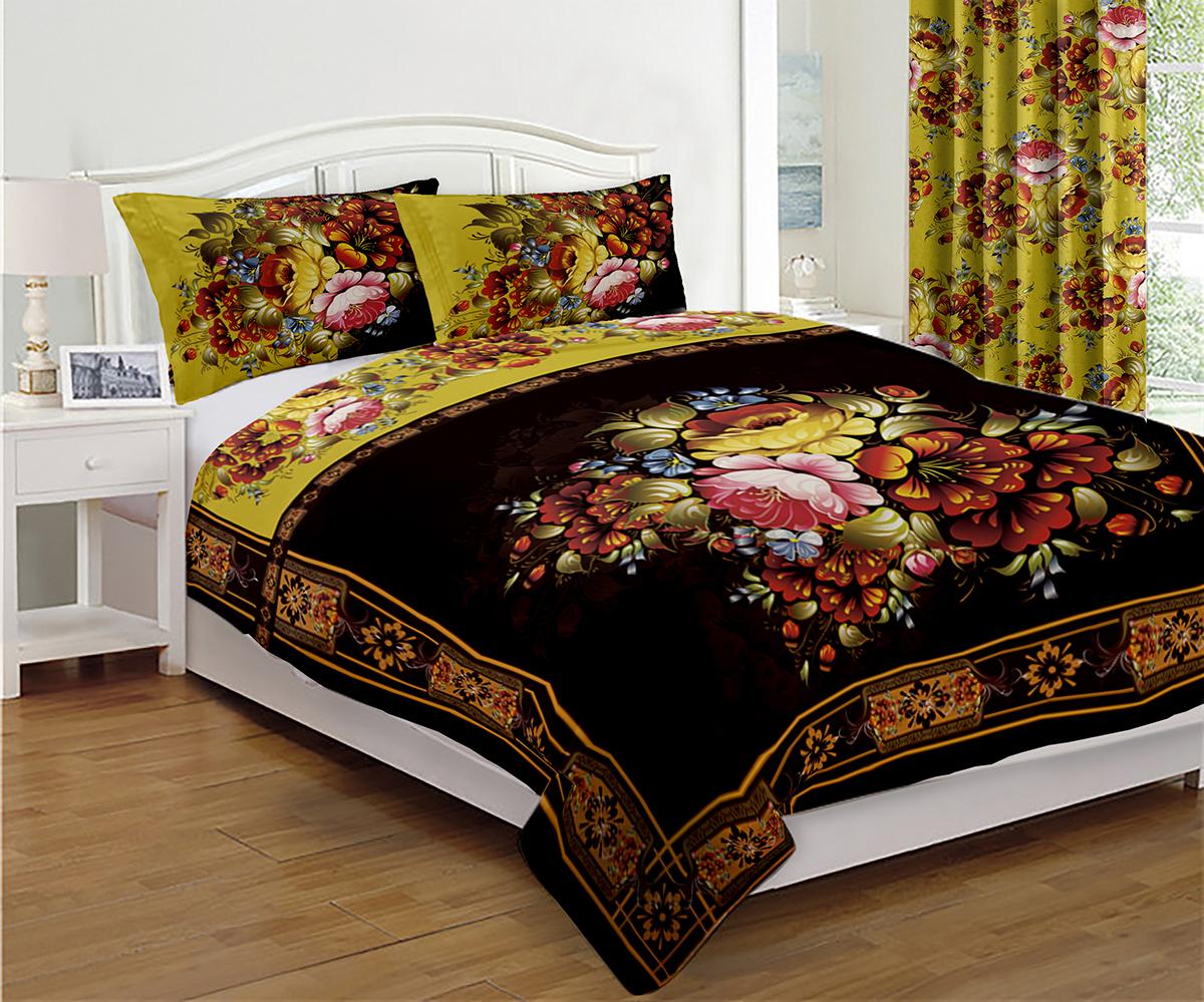 """Комплект для спальни """"МарТекс"""", выполненный из качественного полиэстера - отличный способ придать спальне уют и привнести в интерьер что-то новое. Комплект состоит из покрывала и двух наволочек. Комплект отличает аккуратная фигурная стежка и привлекательный внешний вид.  Размер покрывала: 200 х 220 см.  Размер наволочек: 50 х 70 см."""
