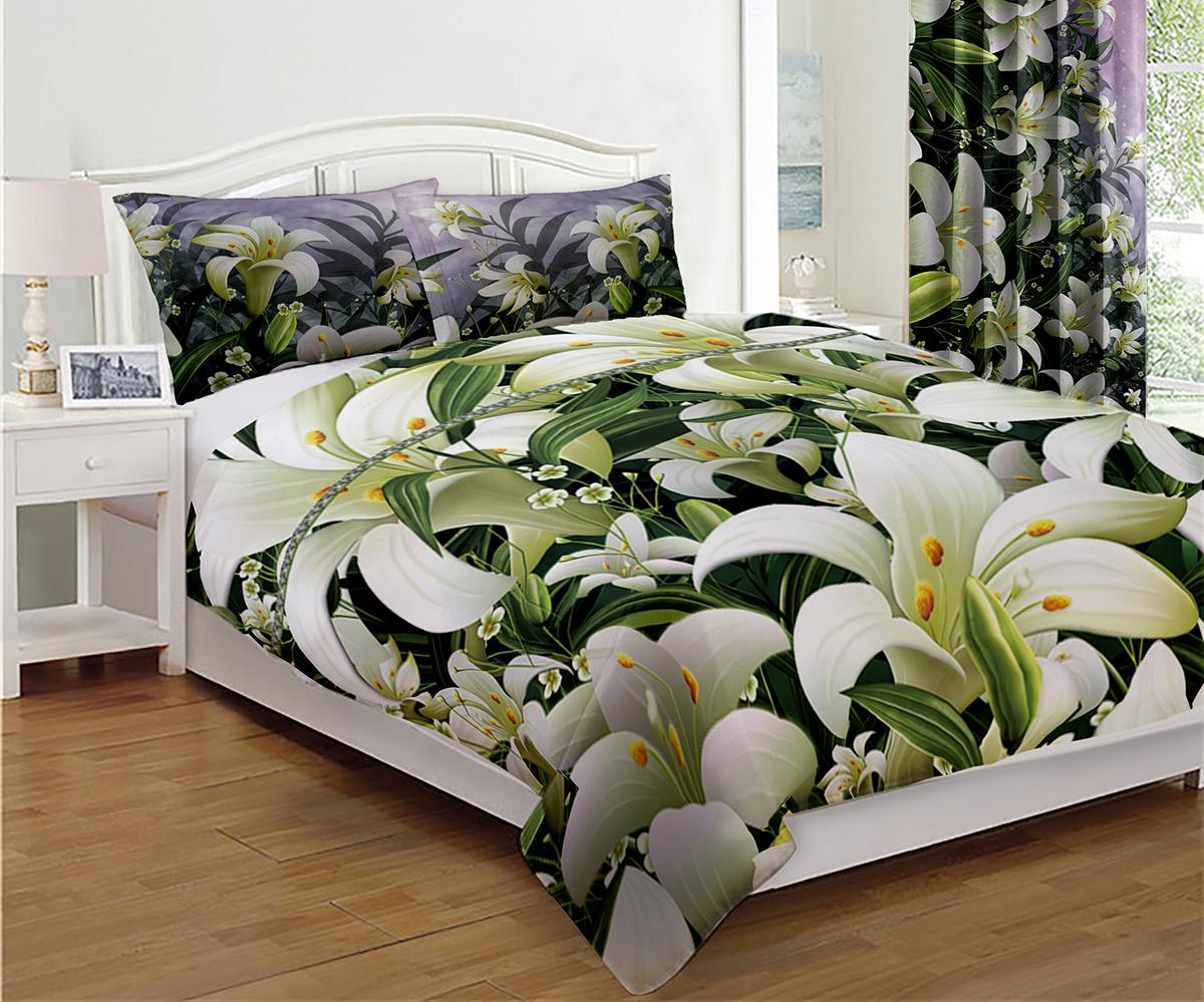 Комплект для спальни МарТекс Белые лилии: покрывало 200 х 220 см, 2 наволочки 50х70 см05-0657-3Комплект для спальни МарТекс Белые лилии состоит из покрывала и двух наволочек. Покрывало из полиэстера на кровать - беспроигрышные решения для спален в духе классики, кантри, модерна. Такое покрывало дает приятный тактильный эффект, ведь он сохраняет тепло, к тому же оригинально выглядит. Плотное и красивое полотно выглядит великолепно, долго служит и не выходит из моды.