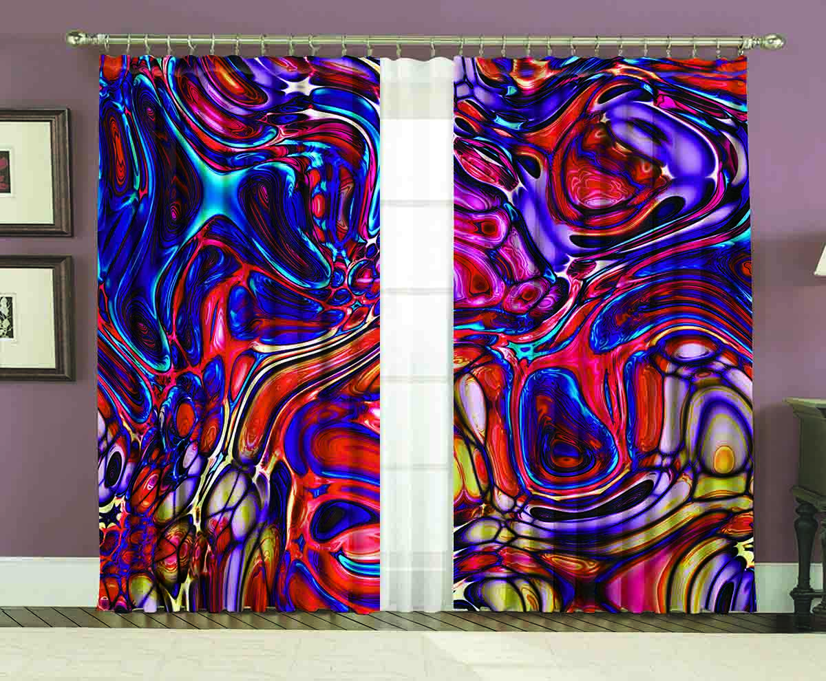 Комплект штор МарТекс Лиловое стекло, цвет: мультиколор, высота 270 см пальто классичесое лиловое 98 см