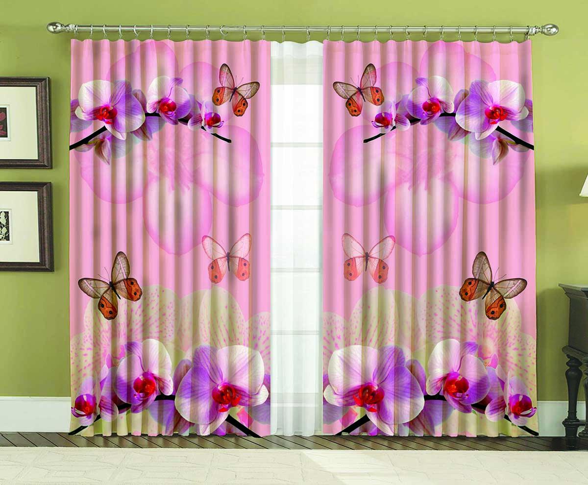 Комплект штор МарТекс Орхидея, 150 х 270 см