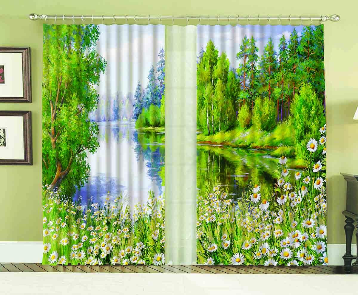 Комплект штор МарТекс Озеро, 150 х 270 см комплект штор мартекс ромашки 150 х 270 см