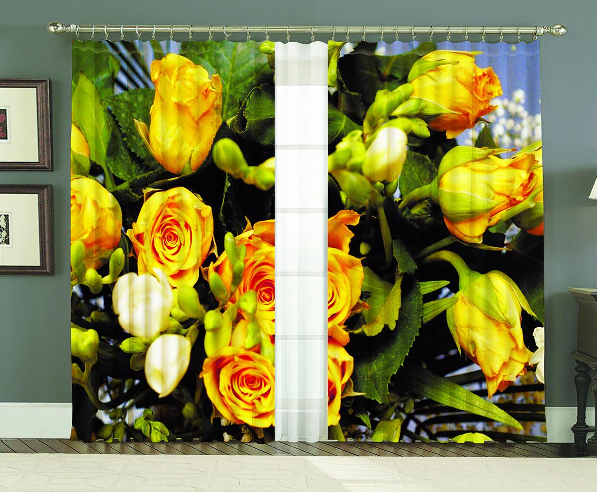 Комплект штор МарТекс Желтые розы, цвет: зеленый, желтый, высота 250 см16-0646-1Комплект штор МарТекс Желтые розы, выполненный из качественного габардина, великолепно украсит любое окно. Ткань с печатным оригинальным рисунком привлечет к себе внимание и органично впишется в интерьер помещения. Этот комплект будет долгое время радовать вас и вашу семью! В комплекте 2 шторы: ширина - 150 см,высота - 250 см.