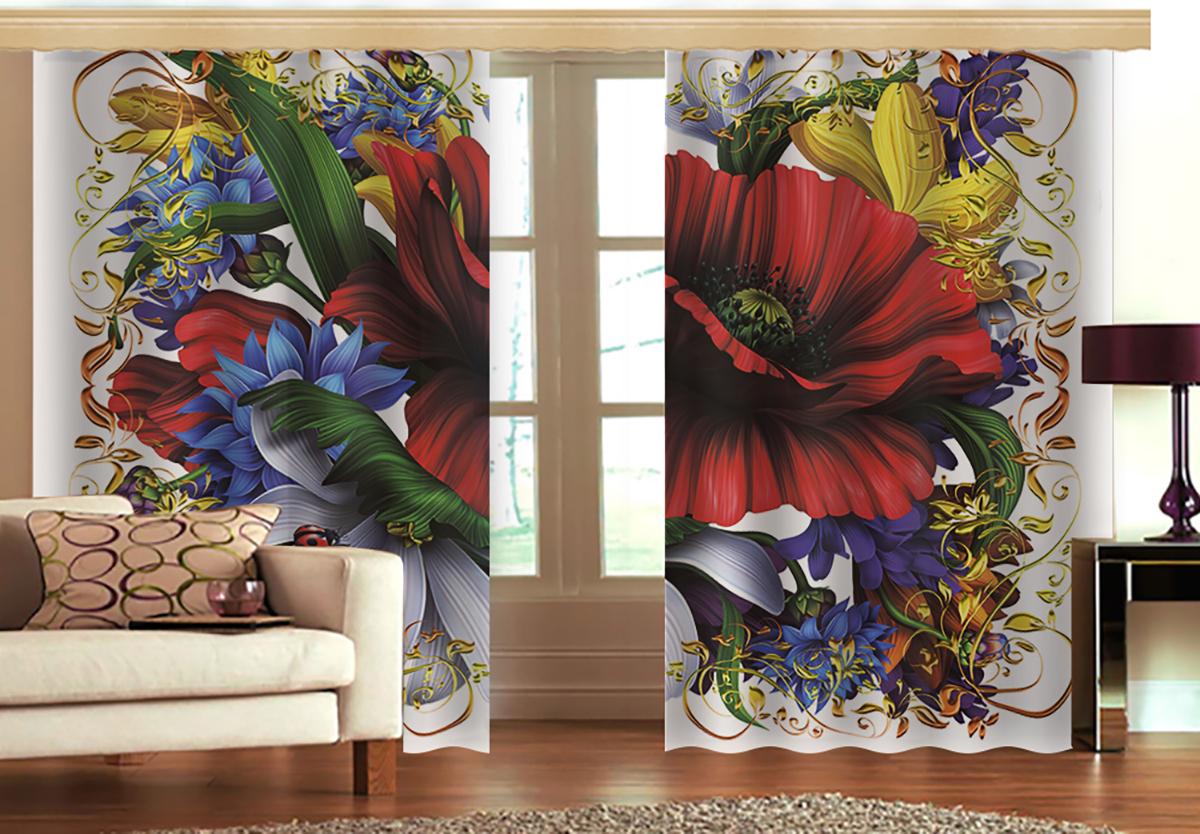 Комплект штор МарТекс Майский букет, 150 х 270 см. 16-1328-116-1328-1Комплект штор МарТекс, выполненный из качественного полиэстера, великолепно украсит любое окно. Комплект состоит из двух штор. Ткань с печатным оригинальным рисунком привлечет к себе внимание и органично впишется в интерьер помещения. Этот комплект будет долгое время радовать вас и вашу семью!В комплекте: 2 шторы.