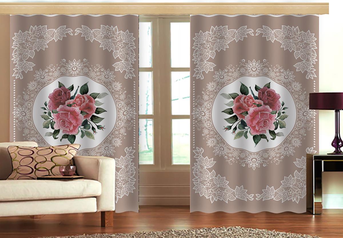 """Комплект штор МарТекс """"Романтик"""", цвет: белый, бежевый, розовый, высота 270 см"""