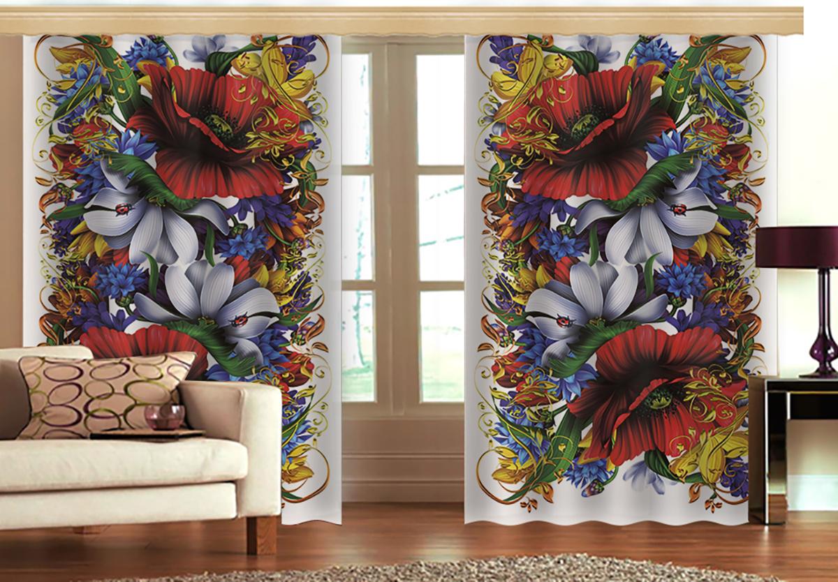Комплект штор МарТекс Майский букет, цвет: синий, красный, белый, высота 270 см16-1342-1Комплект штор МарТекс Майский букет, выполненный из качественного габардина, великолепно украсит любое окно. Ткань с печатным оригинальным рисунком привлечет к себе внимание и органично впишется в интерьер помещения. Этот комплект будет долгое время радовать вас и вашу семью! В комплекте 2 шторы: ширина - 150 см,высота - 270 см.