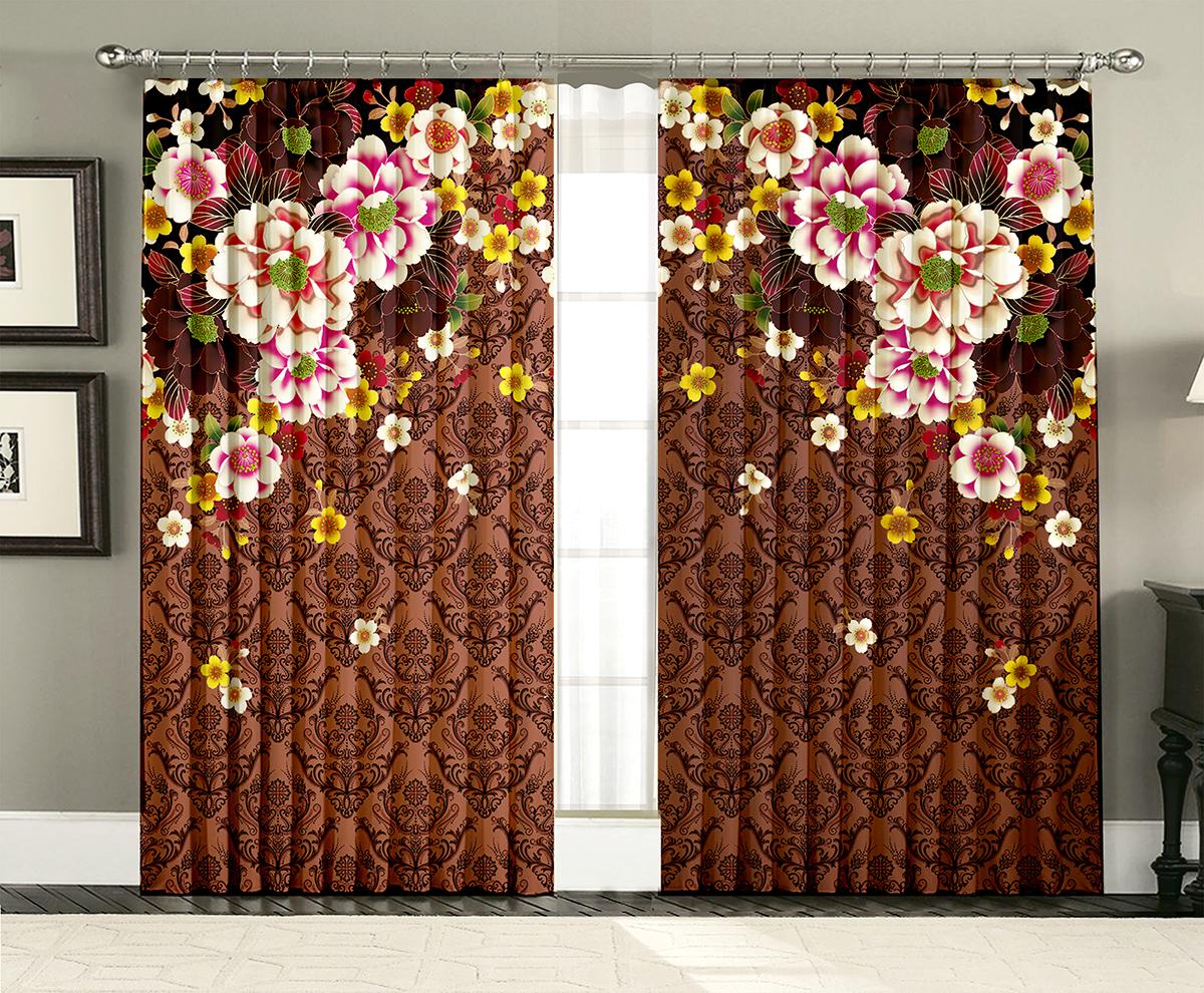 Комплект штор МарТекс Горький шоколад, 150 х 270 см16-1438-1