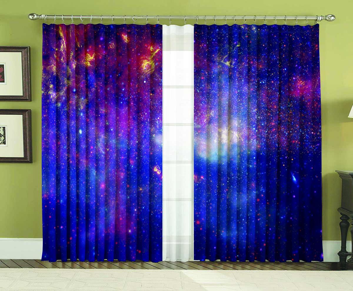 Комплект штор МарТекс Космос, 150 х 270 см16-1475-1Комплект штор МарТекс, выполненный из качественного полиэстера, великолепно украсит любое окно. Комплект состоит из двух штор. Ткань с печатным оригинальным рисунком привлечет к себе внимание и органично впишется в интерьер помещения. Этот комплект будет долгое время радовать вас и вашу семью!В комплекте: 2 шторы.