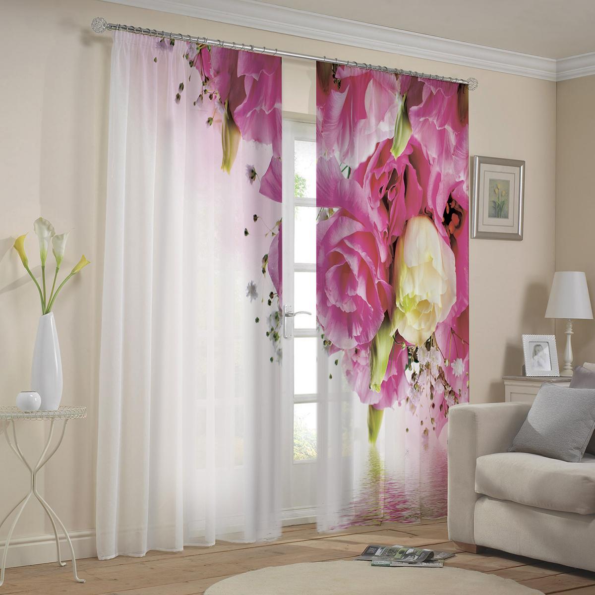 """Комплект штор МарТекс """"Бархат"""", цвет: белый, розовый, высота 270 см"""