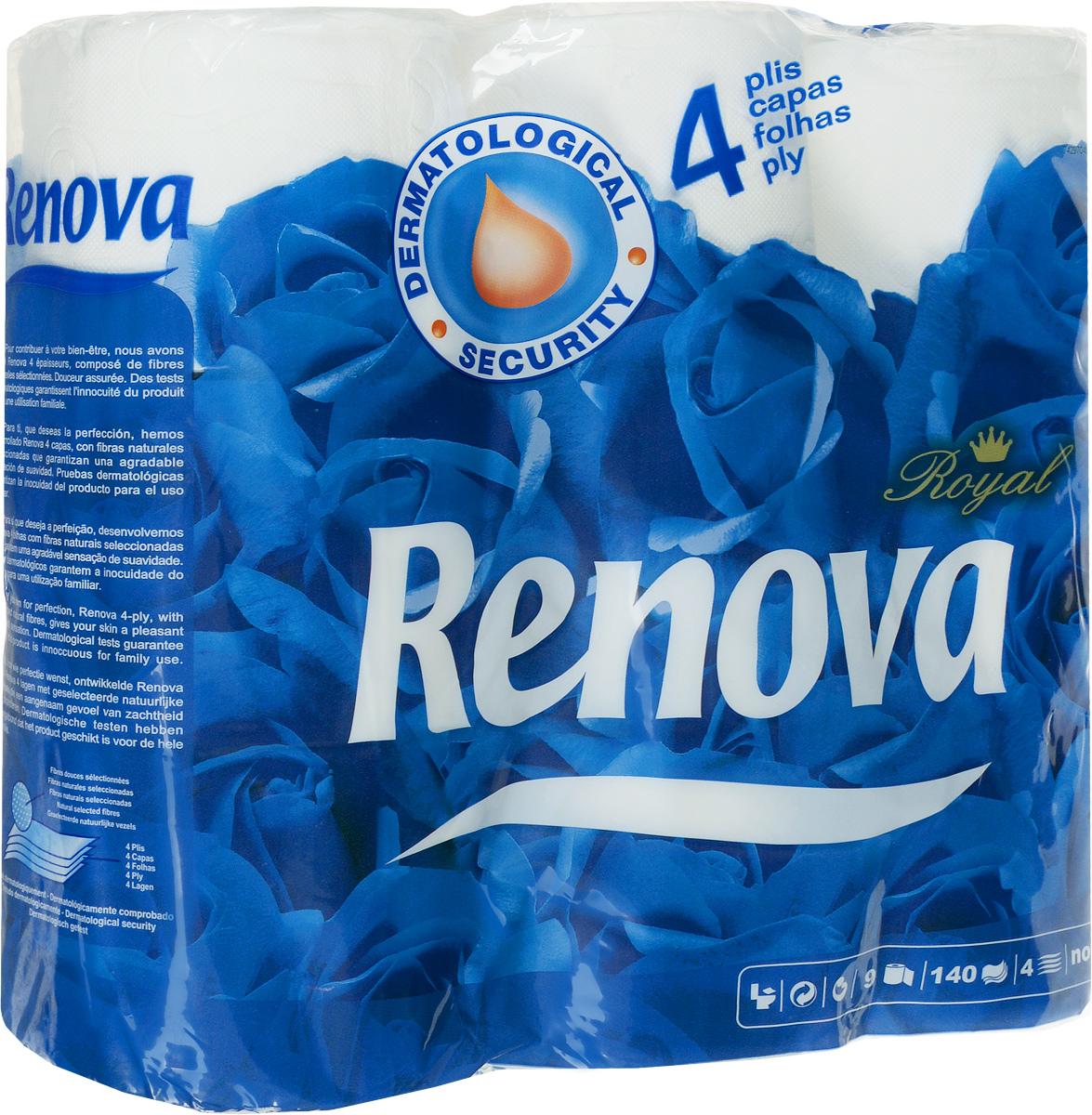 Туалетная бумага Renova Royal, четырехслойная, цвет: белый, 9 рулонов200045194Туалетная бумага Renova Royal изготовлена по новейшей технологии из 100% целлюлозы, благодаря чему она очень мягкая, нежная, но в тоже время прочная. Перфорация надежно скрепляет четыре слоя бумаги. Туалетная бумага Renova Royal не содержит ароматизаторов и красителей. Состав: 100% целлюлоза. Количество листов: 140 шт.Количество слоев: 4.Размер листа: 11,5 см х 9,5 см.Количество рулонов: 9 шт.Португальская компания Renova является ведущим разработчиком новейших технологий производства, нового стиля и направления на рынке гигиенической продукции.