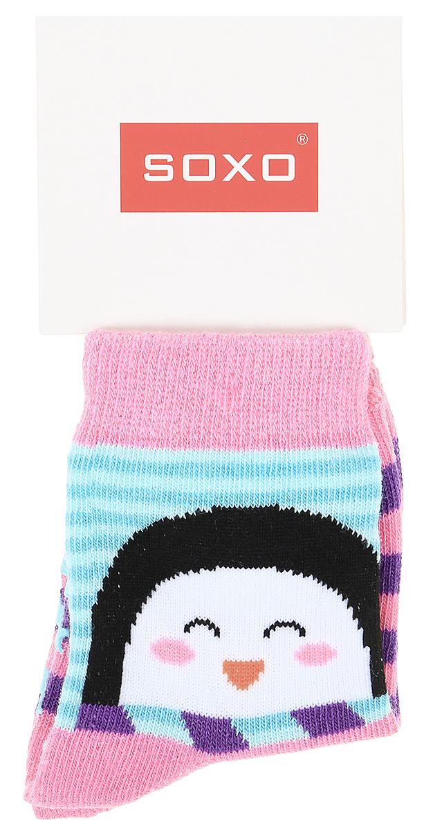 Носки для девочек Soxo, цвет: розовый, фиолетовый. 76990_1. Размер 19/2176990_1