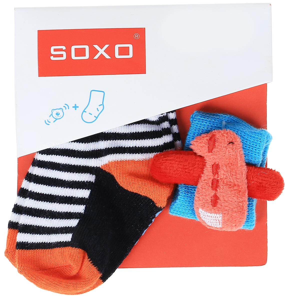 Комплект детский Soxo: носки и повязка на руку, цвет: белый, оранжевый. 68671_2. Размер 16/1868671_2
