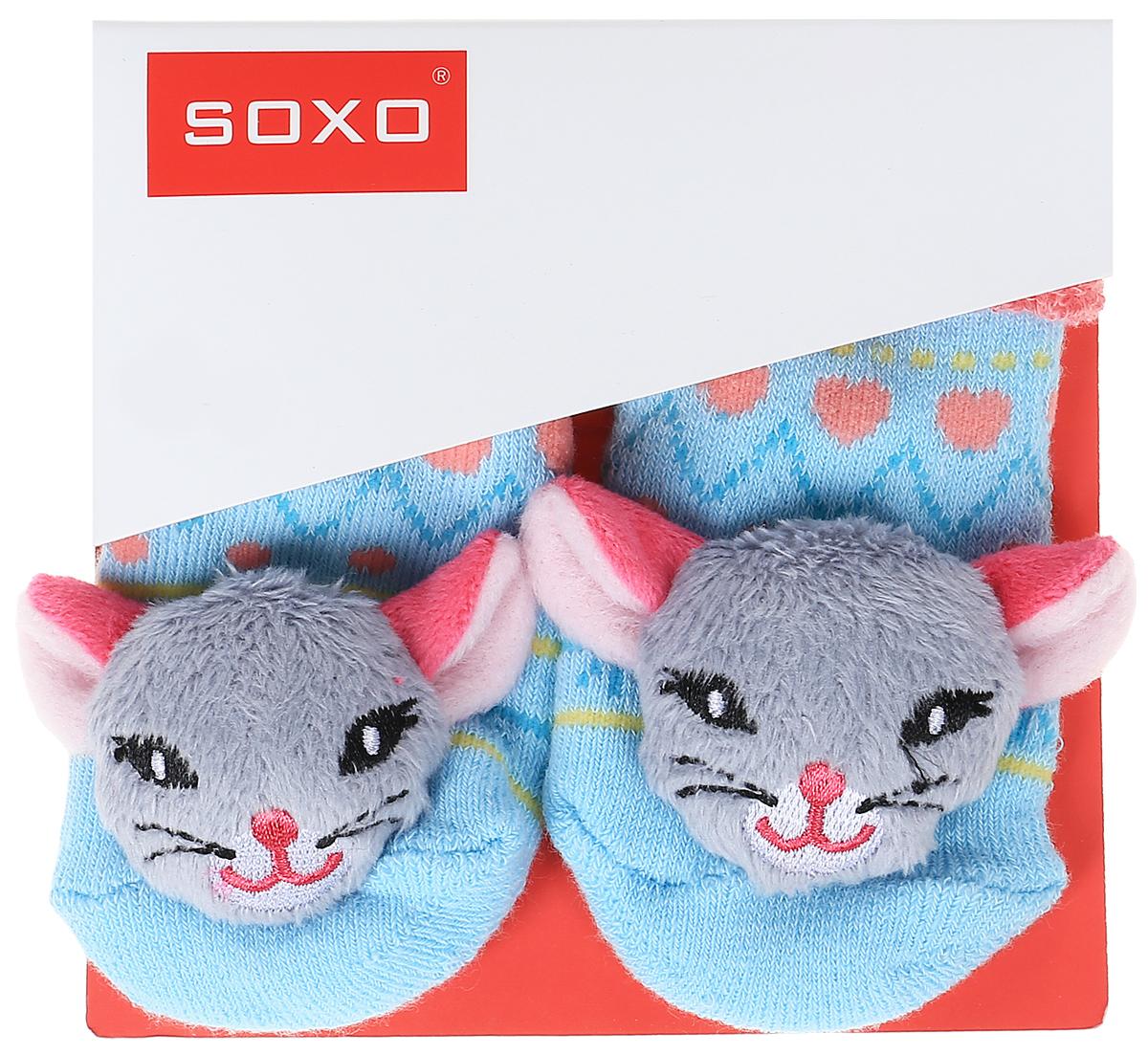 Носки для девочек Soxo, цвет: голубой, розовый. 46146. Размер 16/1846146