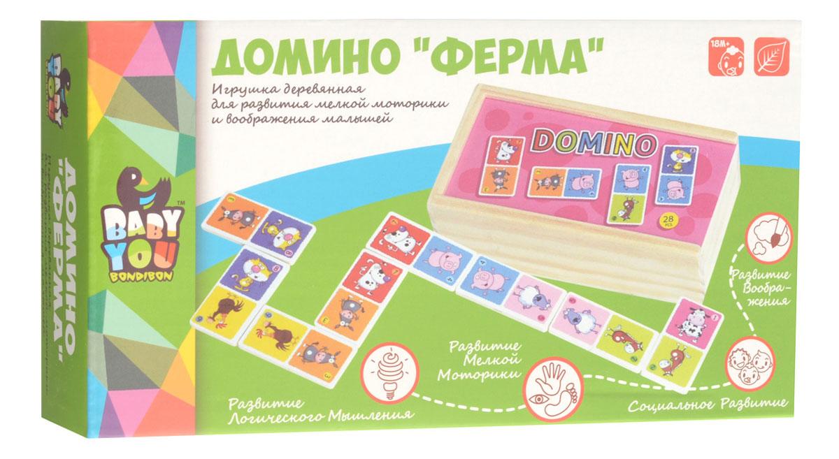 Bondibon Домино Ферма развивающие деревянные игрушки пазл для малышей репка 4 в 1