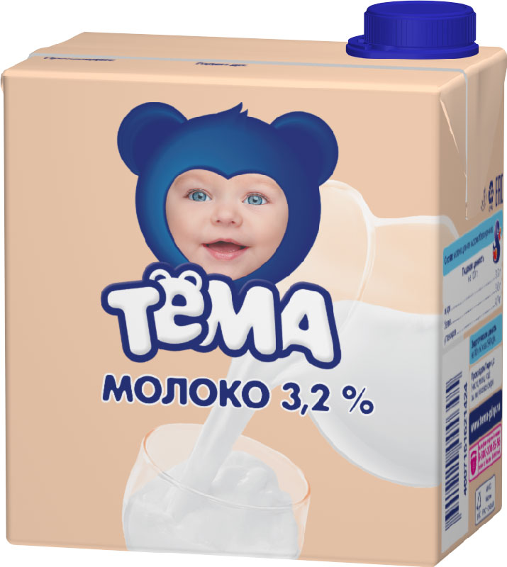 Тема Молоко 3,2%, 500 мл55139Молоко питьевое ультрапастеризованное с массовой долей жира 3,2% для питания детей раннего возраста. Детское молоко можно сделать частью ежедневного рациона ребенка, ведь оно содержит более 200 разновидных органических и минеральных веществ, которые влияют на рост и развитие детского организма. Молоко способствует укреплению иммунитета, улучшению обмена веществ и росту ребенка. Молоко можно использовать и как основу для приготовление каши, чтобы она получилась полезной и вкусной. Кальций - залог здоровых костей и зубов, для роста и развития. Пищевая ценность на 100 г:белок 3,0 гжир 3,2 гуглеводы 4,7 г