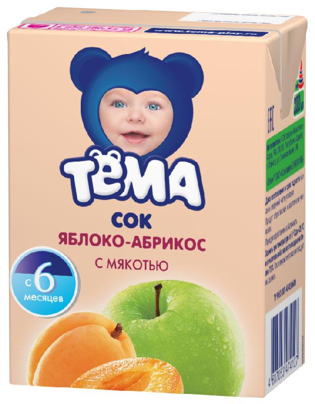 Тема сок яблоко-абрикос с мякотью, 200 г97161Сок яблочно-абрикосовый с мякотью. Восстановленный. Для детского питания.