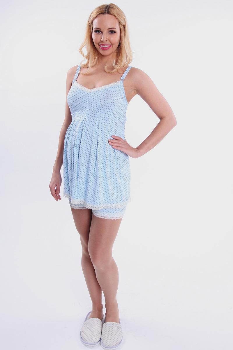 Пижама для беременных и кормящих Nuova Vita Allegro Mamma, цвет: голубой. 901.2. Размер 50901.2Симпатичная пижама Nuova Vita Allegro Mamma прекрасно подойдет как для беременных женщин, так и для кормящих мам. Пижама выполнена из очень приятного на ощупь материала качества суприм-вискоза. Майка для кормления с отстегивающимися бретелями дополнена удобными шортами. Двойная чашка состоит из отстегивающегося верхнего элемента и самой чашки с отверстием для груди. Горловина и низ майки отделаны кружевной лентой. Шортики имеют эластичную резинку под живот и по нижнему краю также оформлены кружевом. Мягкая и шелковистая на ощупь ткань позволит вам чувствовать себя еще более уютно. Пижама дарит комфорт при носке и позволяет коже дышать. Великолепный выбор на каждый день.