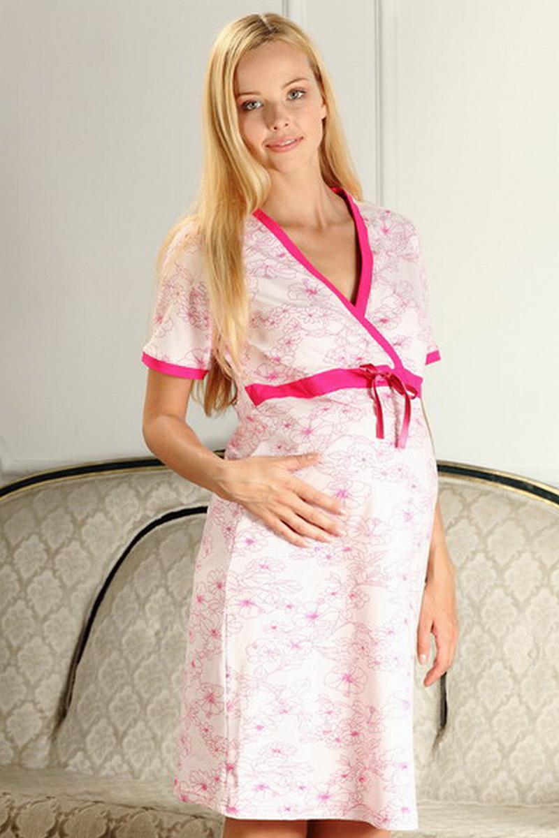Сорочка для беременных и кормящих Nuova Vita Elegante Mamma, цвет: розовый, фуксия. 206.2. Размер 50 леггинсы nuova vita леггинсы