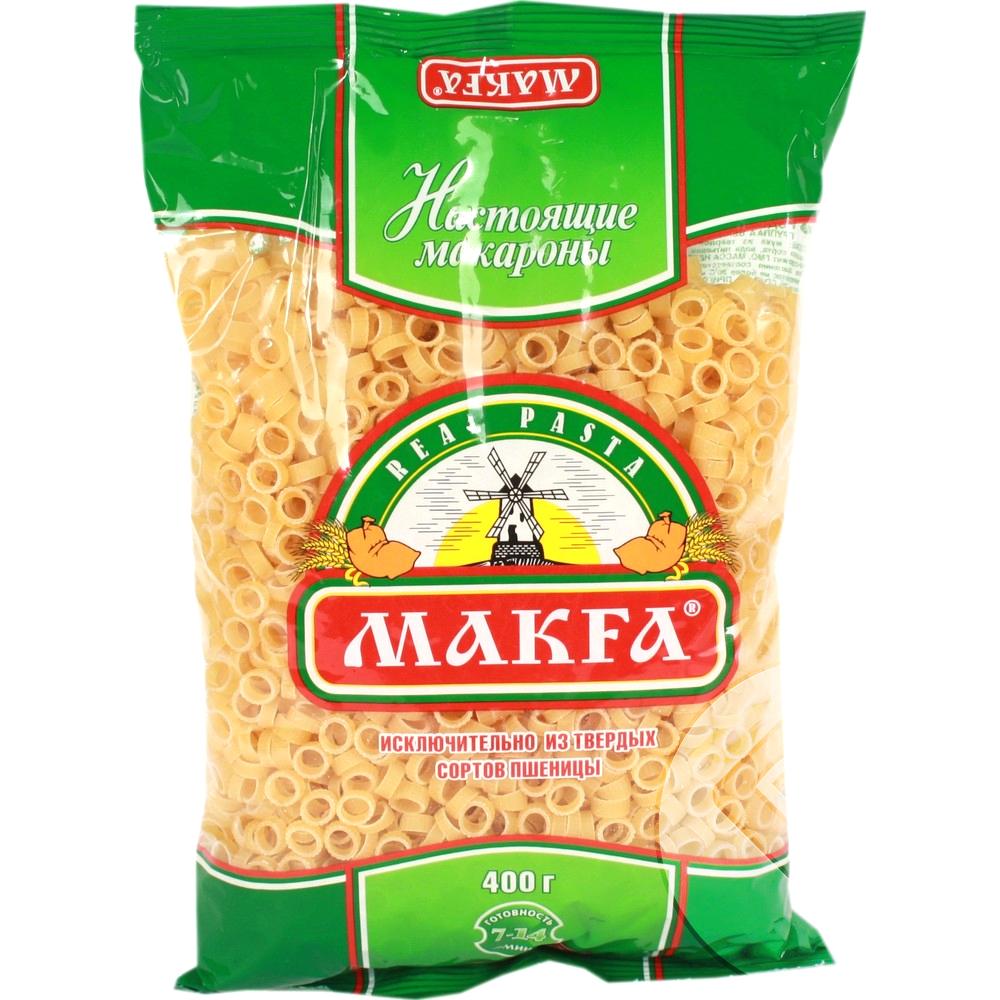 Makfa кольца, 400 г219-3Универсальный формат, подходит как для гарнира, так и в качестве суповой засыпки. Кроме этого, благодаря своей форме прекрасно сочетается с овощными и мясными соусами. Варятся 7 минут.