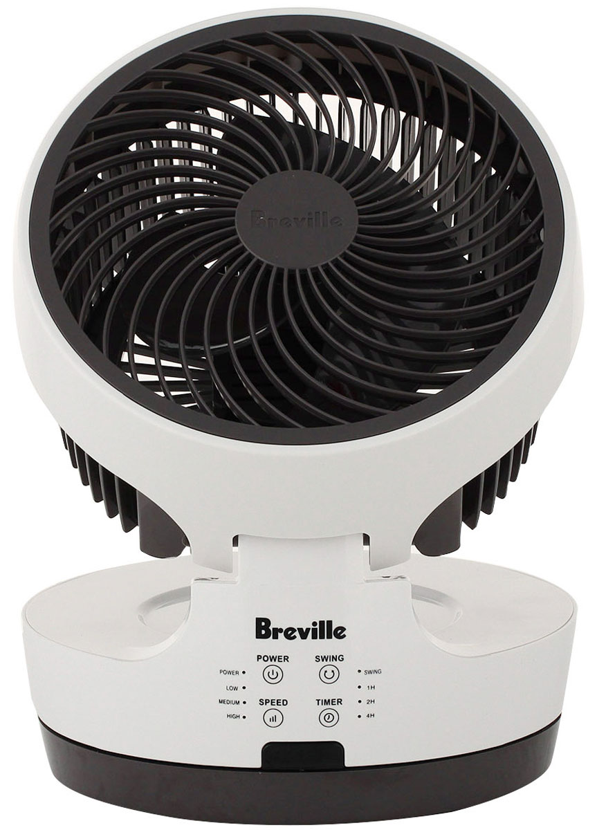 Breville P365 вентилятор69107Breville P365 – это компактный прибор, который легко справится с вентиляцией жилой комнаты или рабочего кабинета. Настольный вентилятор отличается большой производительностью и удобным дистанционным управлением.Вентилятор вращается на 360 градусов, а его рабочую часть можно наклонять от строго вертикального до строго горизонтального положения лопастей. Такая конструкция позволяет обеспечить равномерную вентиляцию в комнате без необходимости переносить прибор.Настраивайте работу вентилятора с помощью удобной панели управления с понятными символьными обозначениями или воспользуйтесь пультом, чтобы изменить скорость вращения лопастей.