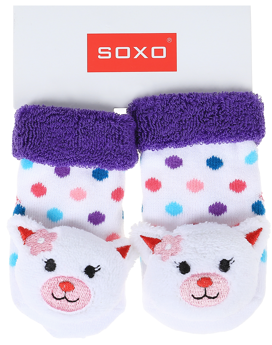 Носки детские Soxo, цвет: белый, фиолетовый. 68698_2. Размер 16/18 фиолетовый цвет 18 24 months