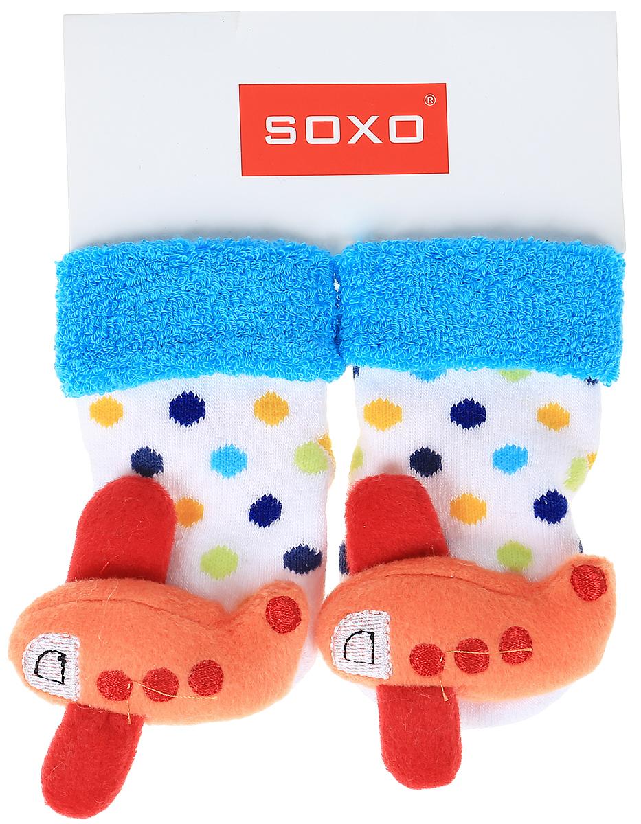 Носки детские Soxo, цвет: белый, голубой. 68698_1. Размер 16/1868698_1